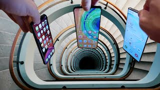 Gambar cover Dropping iPhone 11 Pro vs Note 10 vs Huawei Mate 30 Down Spiral Staircase Deep Hole - What Happens?