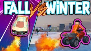 DRIVING IN THE SNOW VS THE FALL WEATHER IN ROBLOX JAILBREAK!!! *Thoughts*