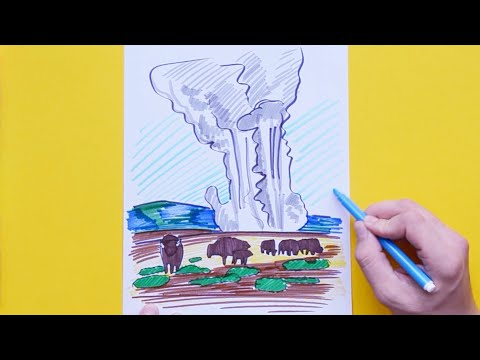 How to draw and color Old Faithful Geyser, Yellowstone National Park