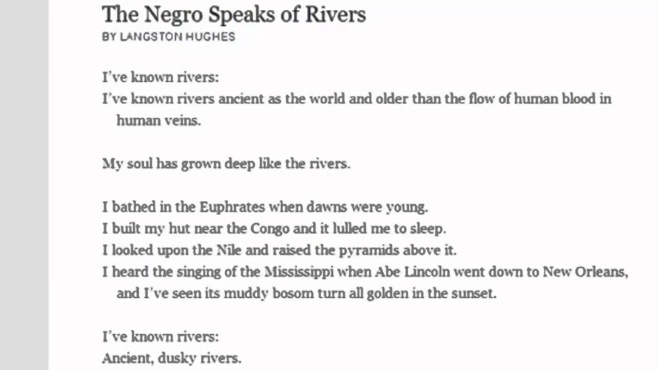 a literary analysis of negro by langston hughes Hughes contributed to his school literary magazine where he wrote poems about sandburg and dunbar  more about analysis of langston hughes´ the negro speaks of.