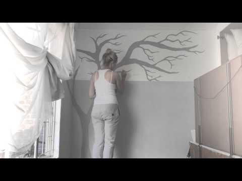 DIY Tree painting on my dressing room wall!