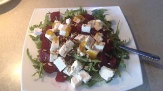 Салат из свеклы с козьим сыром и медовой заправкой