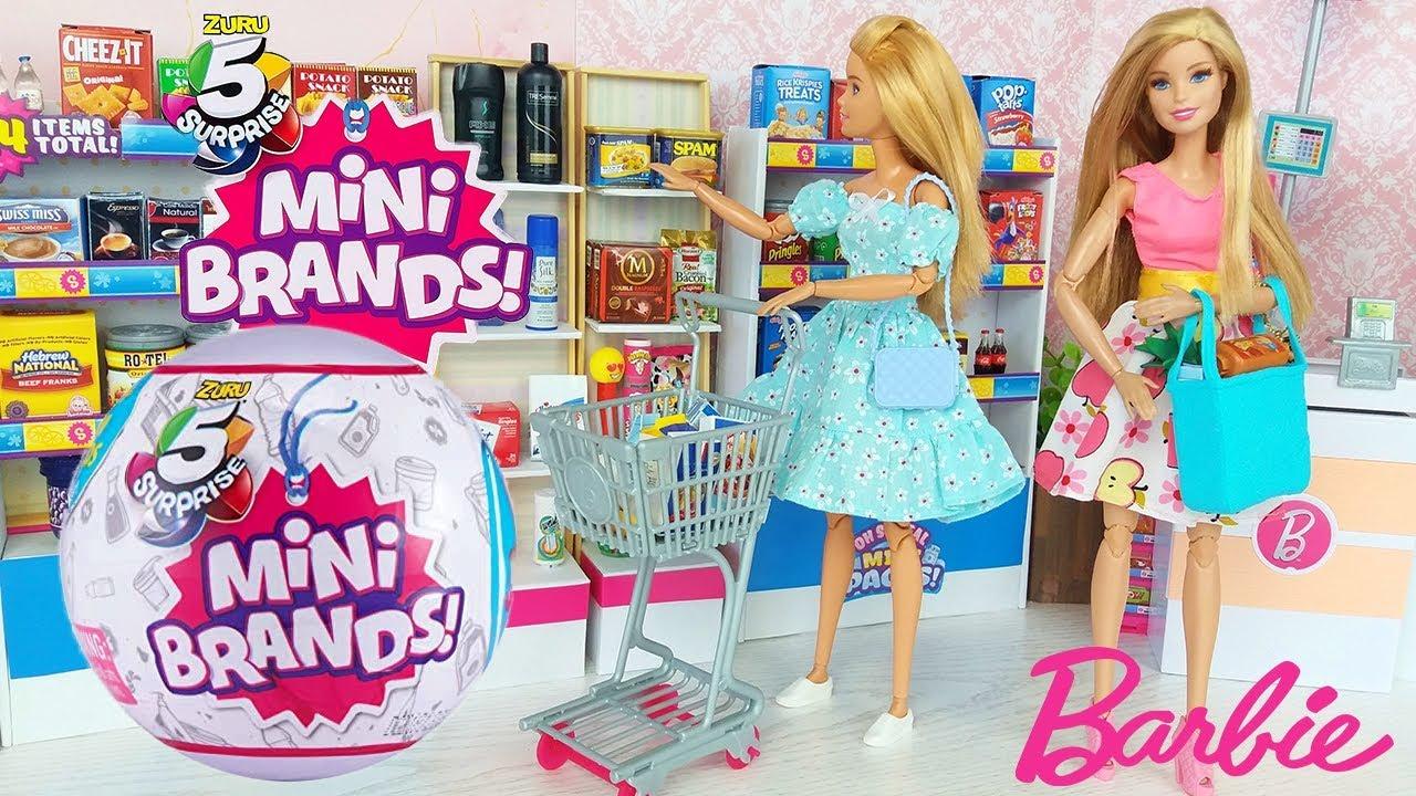 Barbie Doll Grocery Supermarket Video Zuru 5 Surprise Mini Brands Unboxing @Barbie
