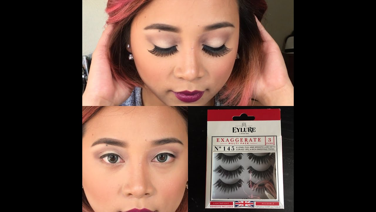 73b306a7dc4 Eylure exaggerate No. 145 eyelashes review and try on - YouTube