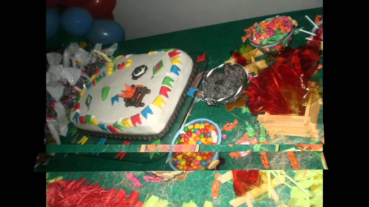 Decoraç u00e3o de aniversário festa junina YouTube -> Enfeites Mesa Aniversario Festa Junina