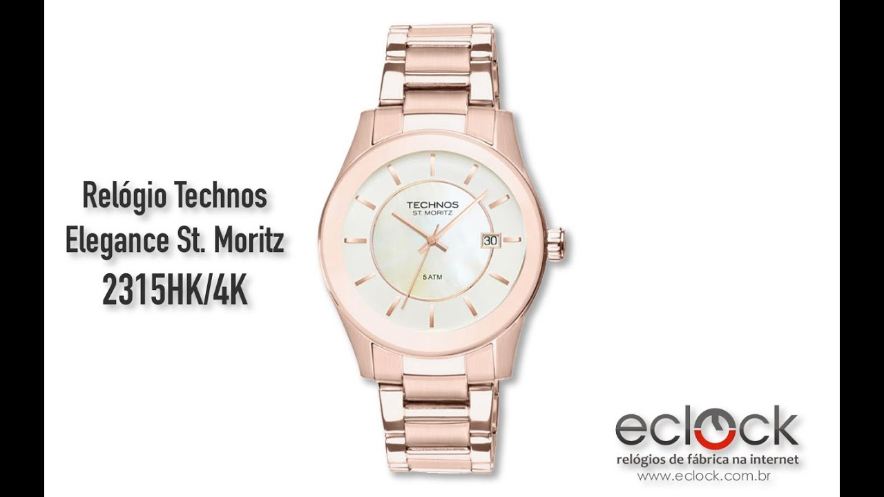 Relógio Technos Feminino Elegance St. Moritz 2315HK 4K - Eclock - YouTube 810e187408