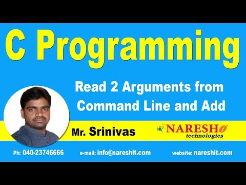 Read 2 Arguments from Command Line and Add | C Language Tutorial | Mr. Srinivas