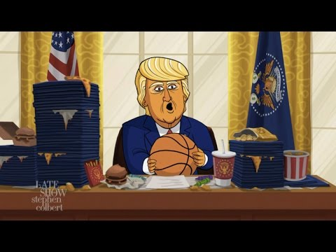 Cartoon Donald Trump Announces His March Madness Bracket Picks
