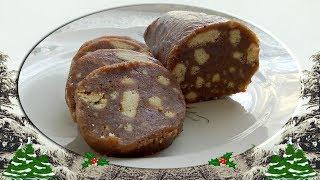 Рецепт шоколадной колбаски из печенья с орехами