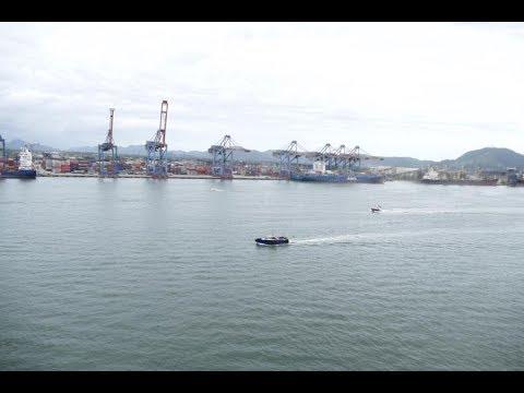 Overview of Santos Port, near Sao Paulo