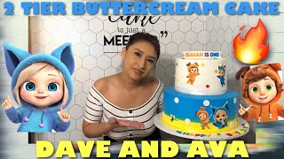2 TIER BUTTER CREAM CAKE  DAVE AND AVA WITH EDIBLE IMAGES