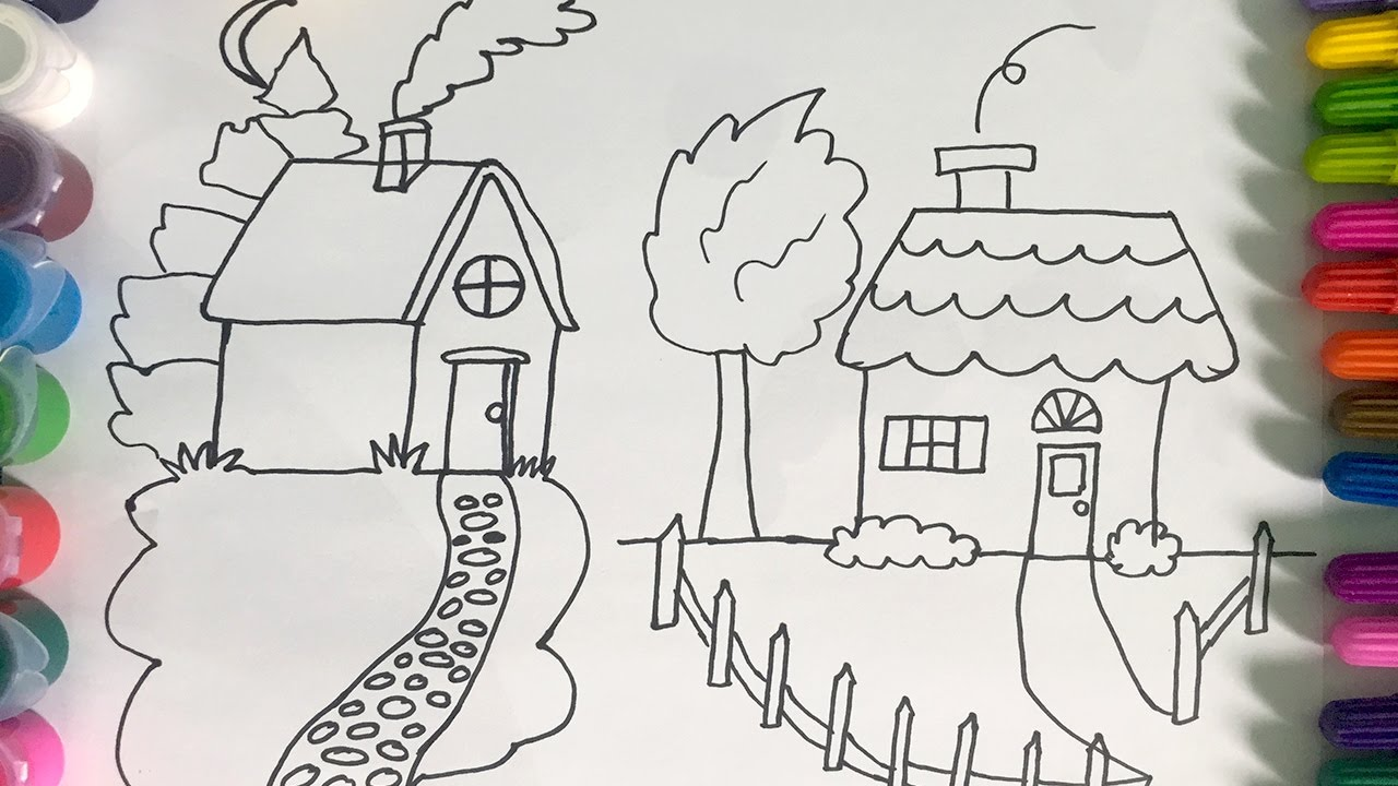 How to draw a house drawing house for kids colouring house