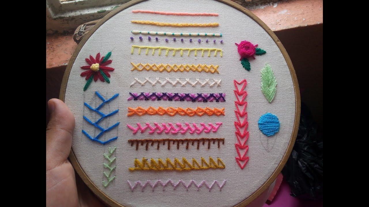 Muestrario de puntadas básicas del bordado mexicano clase #01 - YouTube