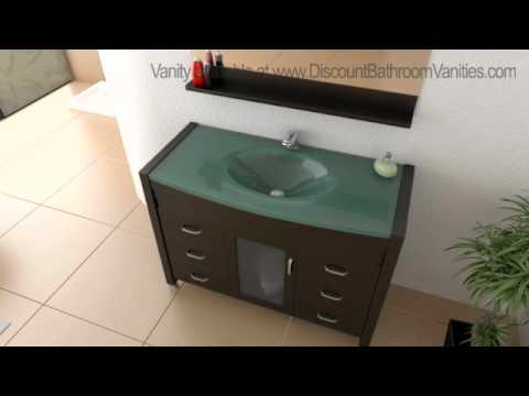 Design Element Cascade Single Sink Bathroom Vanity With Tempered Glass  Countertop DEC017 G