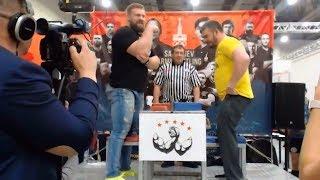 Kirill Sarychev vs Tokarev; Sarychev is trying to do armwrestling