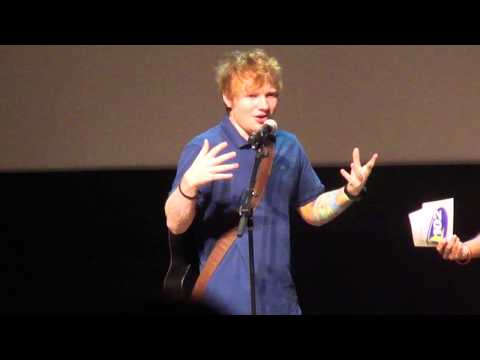 Ed Sheeran being interviewed at the Philadelphia Museum of Art