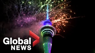 New Year's 2020: Auckland, New Zealand dazzling fireworks rings in new decade