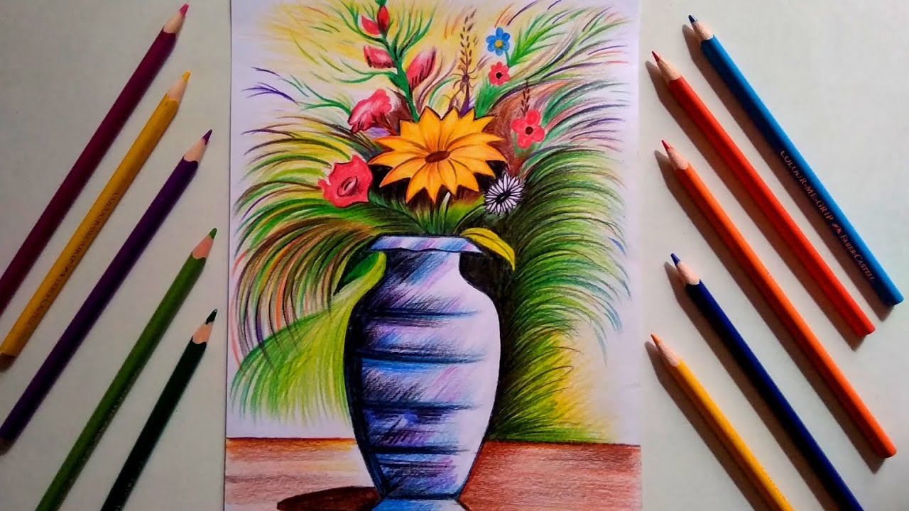 Flower Vase Drawing With Pencil Colour Step By Step For Beginners Youtube