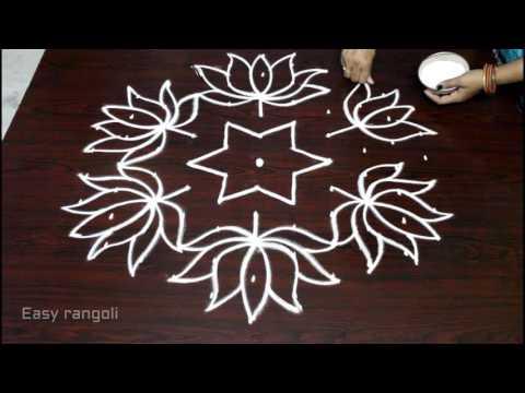 lotus flower kolam designs with 11x6 dots for pongal || sankranti muggulu || easy rangoli designs