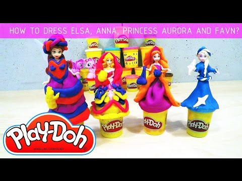 Elsa, Anna, Aurora, Rosetta - Let's dress them together with Play-Doh