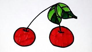 Рисуем вишню. Картинка раскраска для малышей. Простые рисунки.