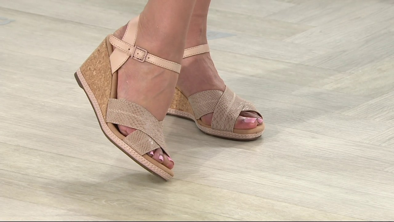 2a04fef7732 Clarks Leather Cork Wedge Sandals - Helio Latitude on QVC - YouTube