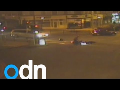 Hit-and-run: Motorcyclist shouts at pedestrian he knocks over then drives off