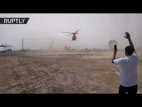 Helicopter with Indian politician on board goes crazy
