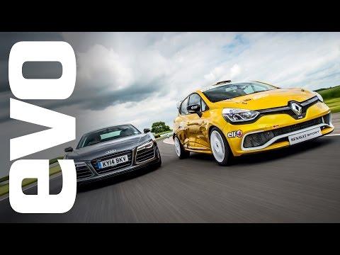 Audi R8 Plus vs Renault Clio Cup racecar   evo TRACK BATTLE