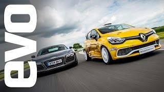 Audi R8 Plus vs Renault Clio Cup racecar | evo TRACK BATTLE