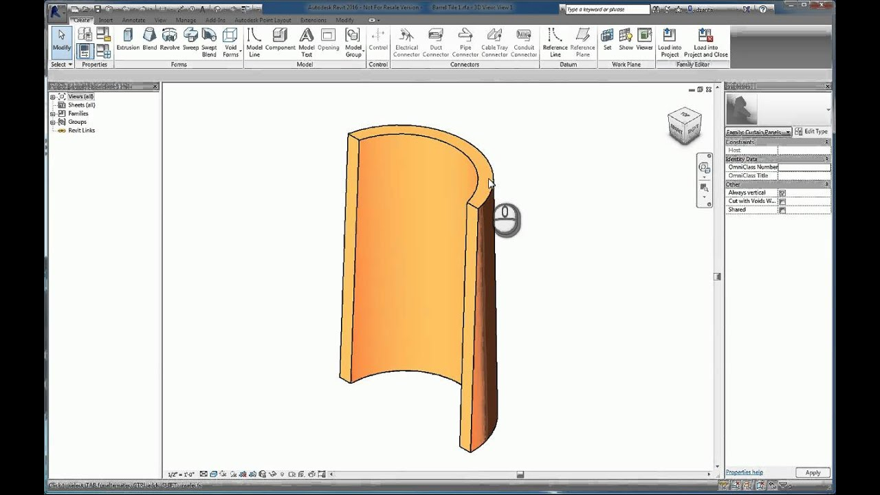 Revit Barrel Wall And Curved Spanish Tile Roof Youtube