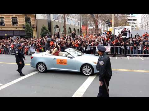 Tim Lincecum in SF Giants World Series Parade 2012