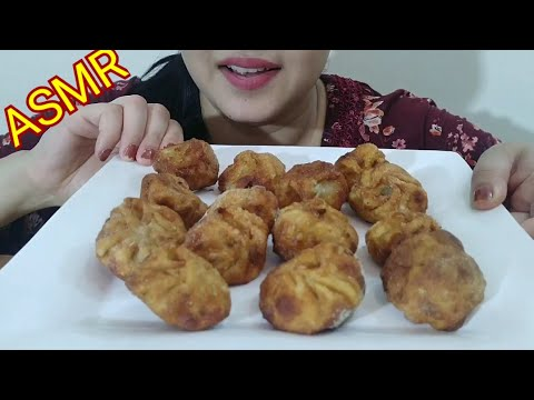 FRIED MOMOS ASMR | STREET FOOD  EATING SOUND | DETECTIVE BITES