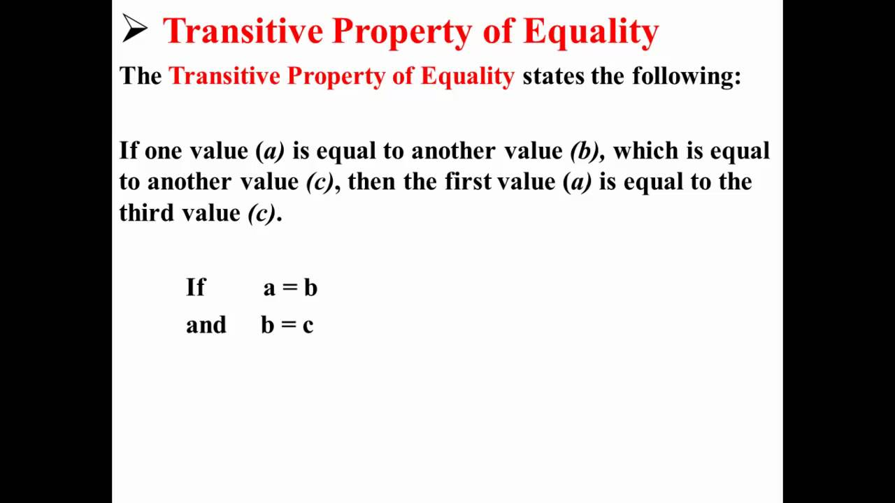worksheet Definition Of Properties In Math transitive property of equality youtube