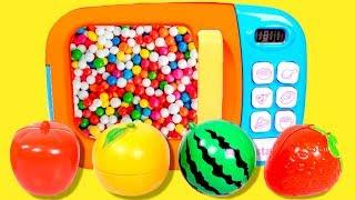 MICROONDAS MÁGICO 🎊🌈 Aprendemos las frutas y jugamos con el microondas de juguete mágico