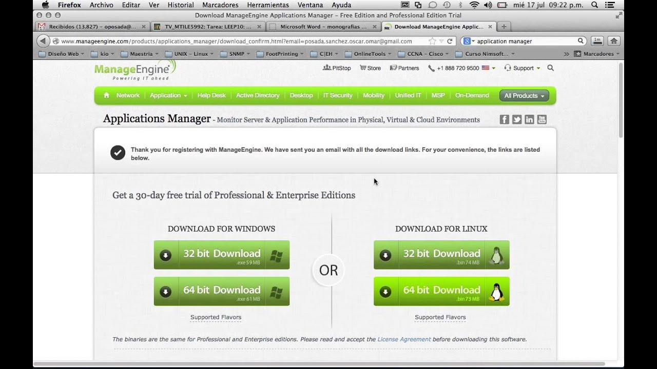 Descarga ManageEngine Applications Manager