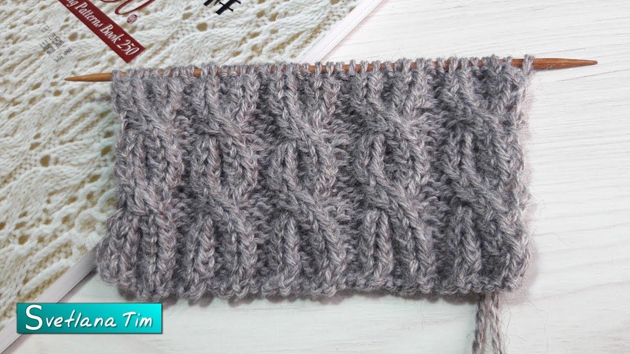 Японские резинки спицами. Схема. Косы скрещенными петлями. Вязание спицами # 672