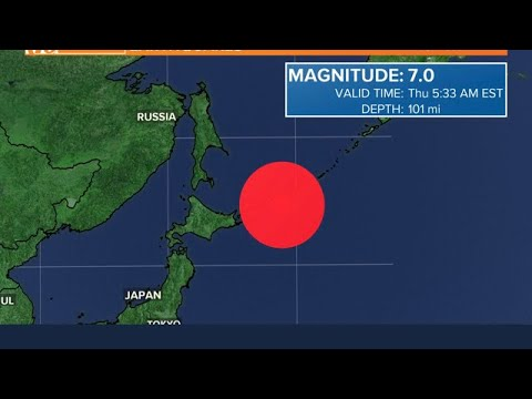 Magnitude 7.5 earthquake strikes east of the Kuril Islands