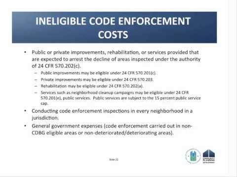 Guidance on How to use CDBG Funds for Code Enforcement Activities