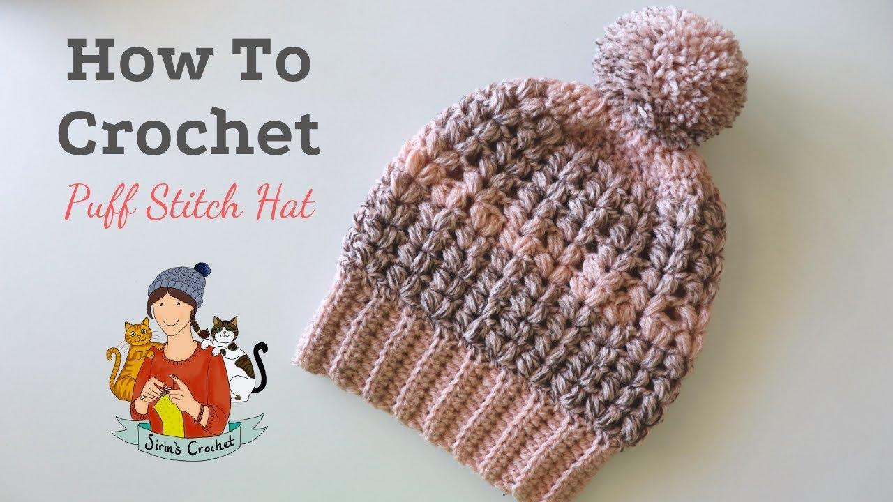 Smokey Grey Puff Stitch Beret Crochet hat