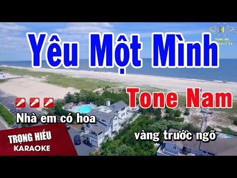 Karaoke Yêu Một Mình Tone Nam Nhạc Sống | Trọng Hiếu