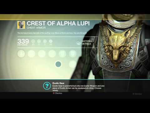 Destiny Exotic Item - Crest Of Alpha Lupi