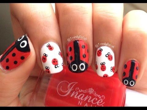 ladybug nail art short nails