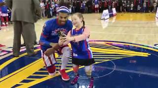 Wildfire Survivor Has Special Day with Harlem Globetrotters