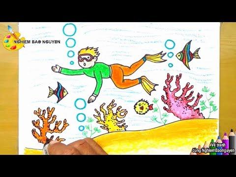 Vẽ tranh lặn biển/How to draw Diver