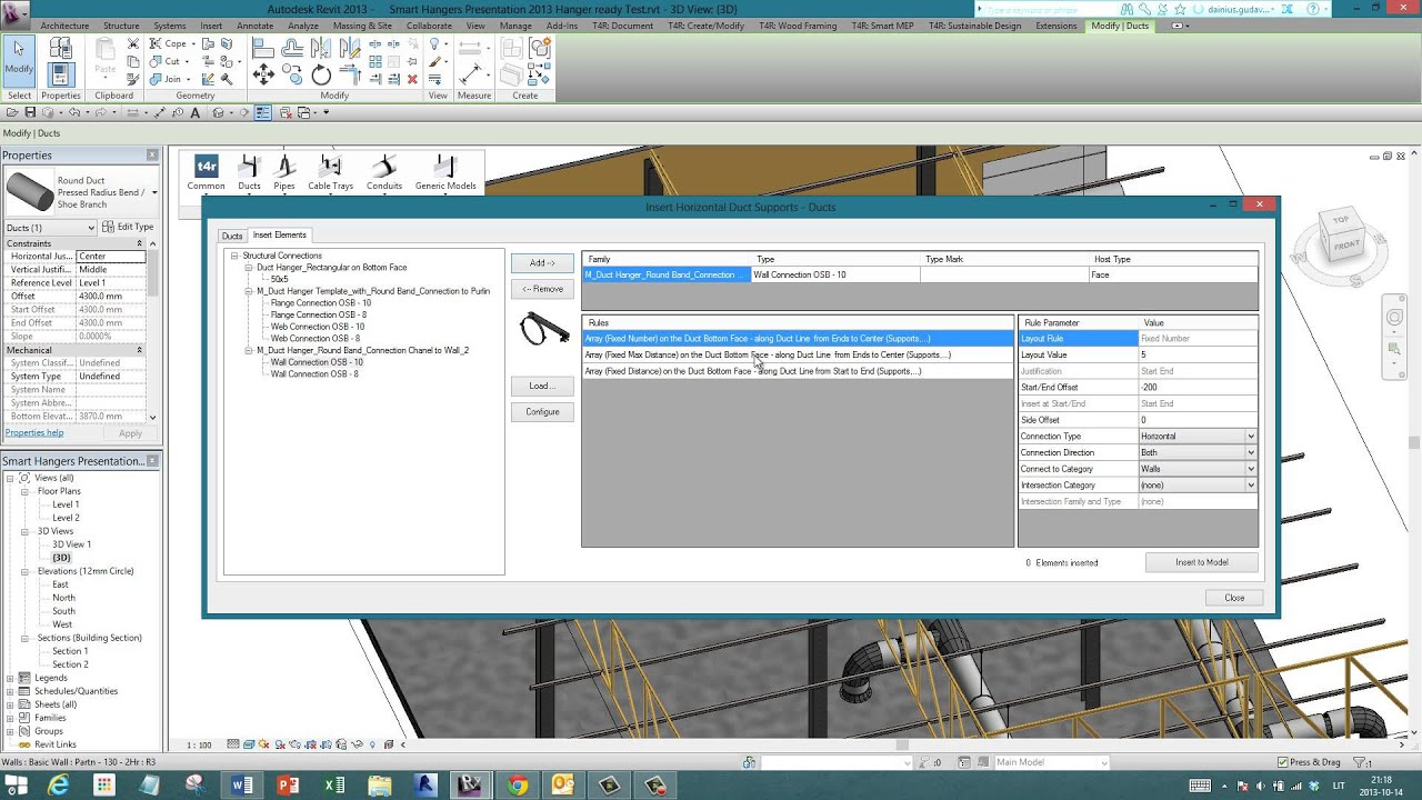 Hangers & Supports Distribution in Revit® MEP | Smart