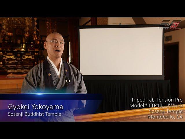 Elite ProAV® Tripod Tab-Tension Pro Series- Portable Free-Standing Screen featured at Sozenji Temple