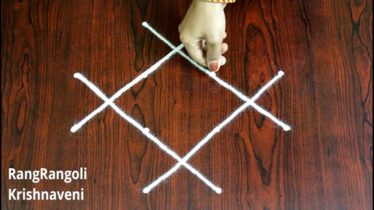 Latest Geethala Muggulu with 4*2*2 dots  Easy Padi Kolam for Navratri  Beginners Rangoli RangRangoli