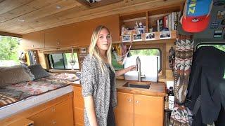 Her DIY Sprinter Camper Van - Living & Working In Her Off Grid Tiny House On Wheels