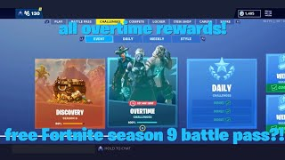 What happens when you complete all Fortnite season 8 overtime challanges? Free season 9 battle pass?